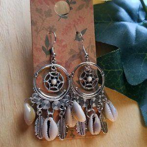 Jewelry - Boho Dreamcatcher Silver Dangle Earrings